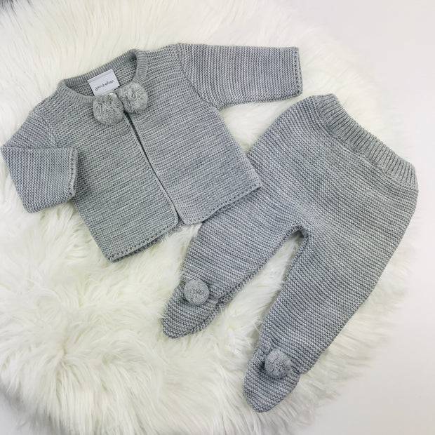 Grey Knitted Pom Pom & Leggings Two Piece Set