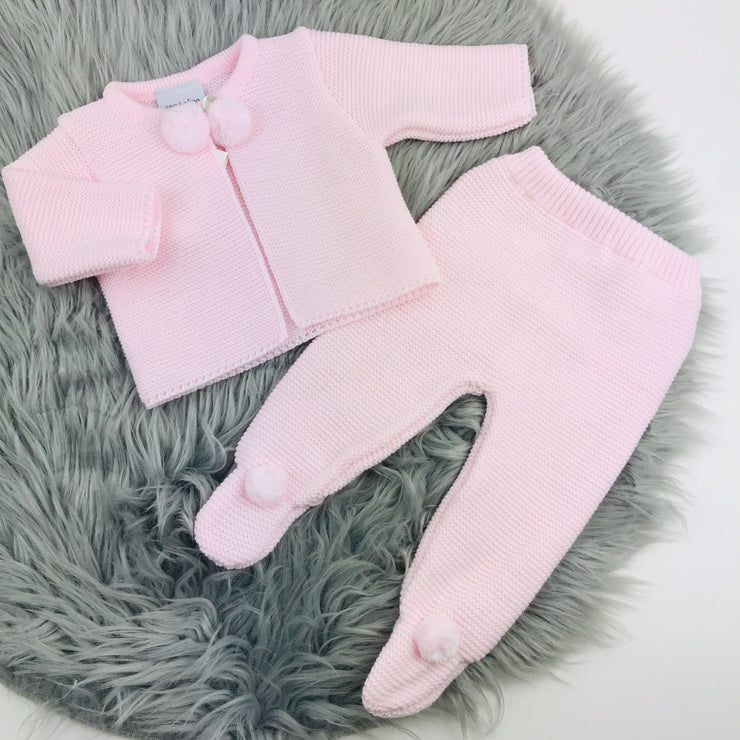 Baby Pink Knitted Pom Pom & Leggings Two Piece Set