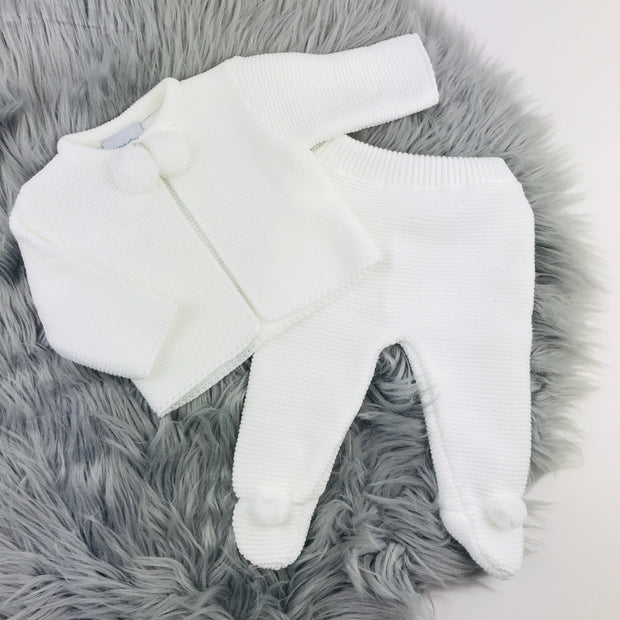 White Knitted Pom Pom & Leggings Two Piece Set