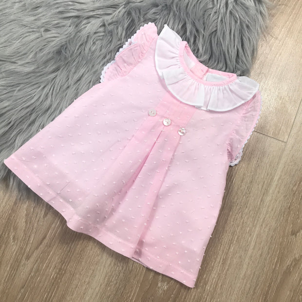 Pink Dobbie Cotton Ruffle Dress