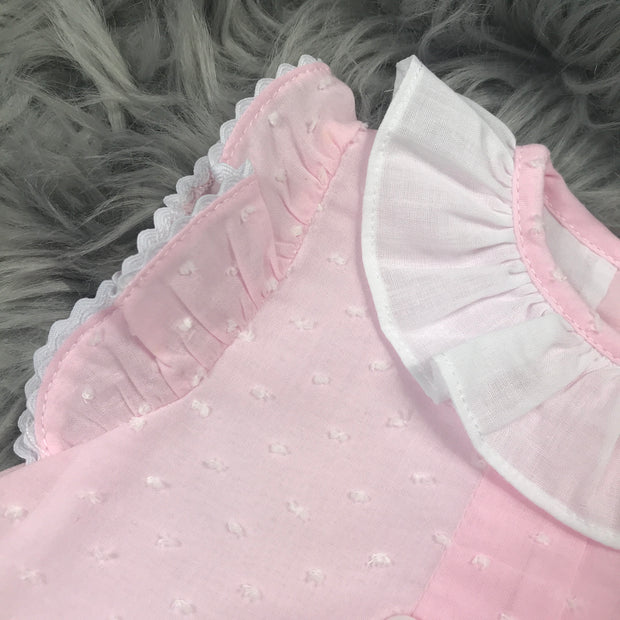 Pink Dobbie Cotton Ruffle Dress Collar