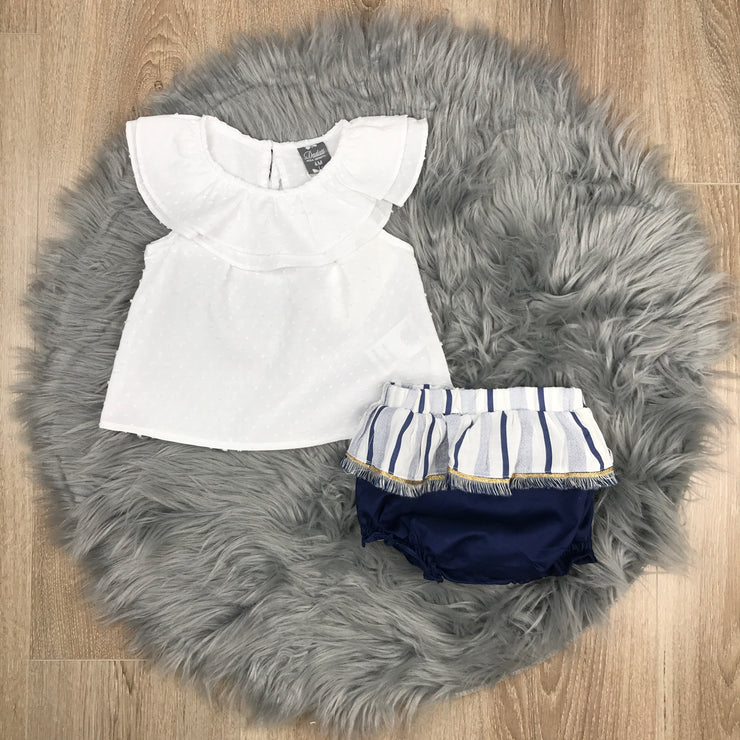 White Cotton Dress & Jam Pants Set