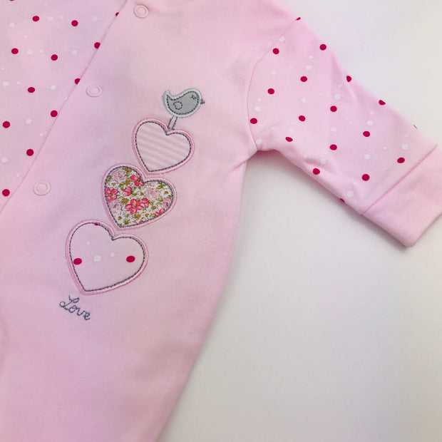 Triple Hearts Cotton Sleepsuit Close