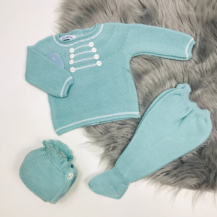 Water Green Three Piece Spanish Knitted Set