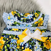 Golden Yellow and Blue Spanish Dress with Floral Print design Collar