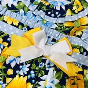 Golden Yellow and Blue Spanish Dress with Floral Print design Bow Close