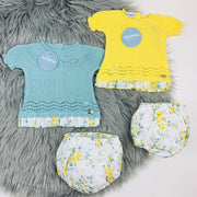 Water Green  & Yellow Knitted Jam Pants Set