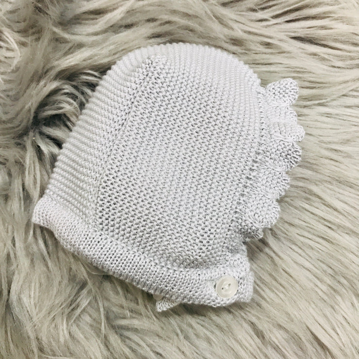 Pearl Grey  Spanish Knitted Bonnet