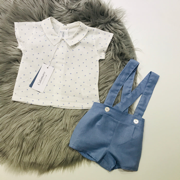 Blue & Ivory Shirt & Short Set