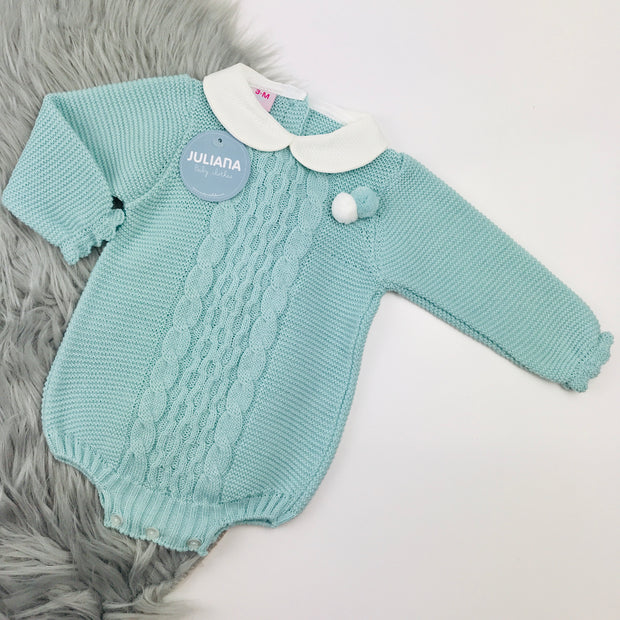 Juliana Water Green Knitted Spanish Romper