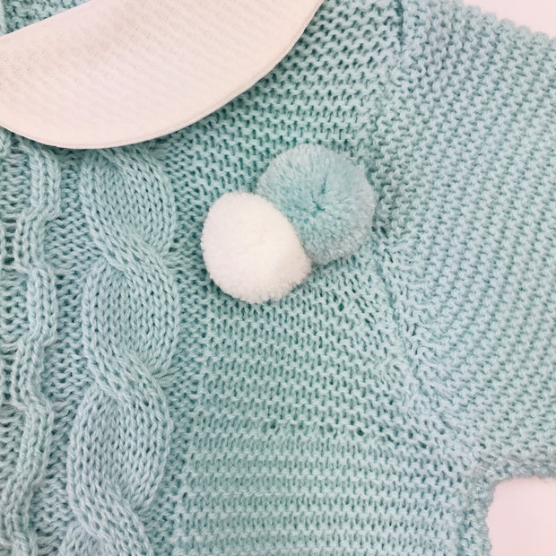 Juliana Water Green Knitted Spanish Romper pompoms