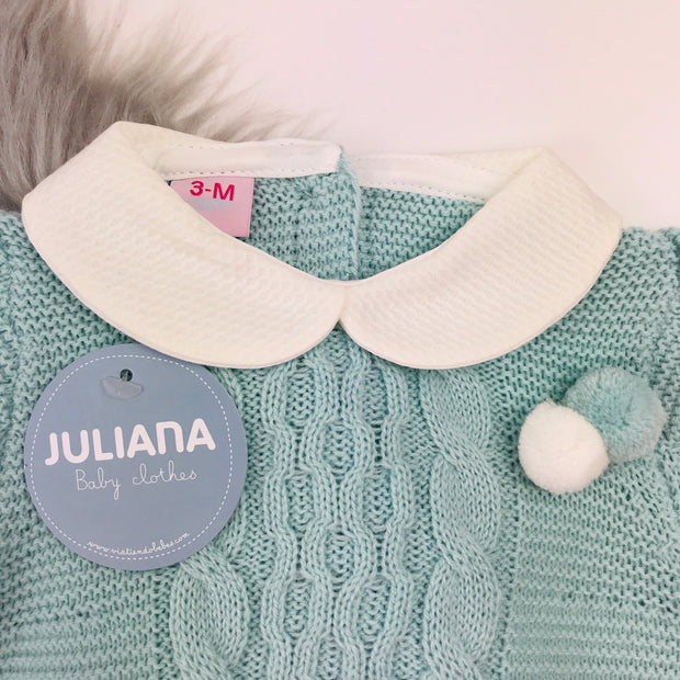 Juliana Water Green Knitted Spanish Romper Close