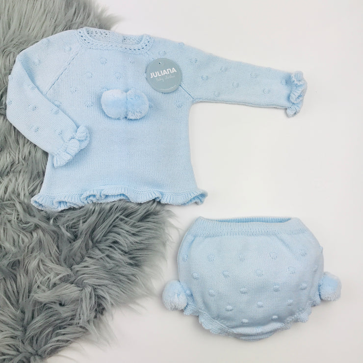 Blue Knitted Jam Pant Set