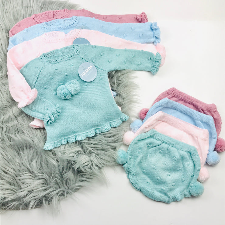 Blue,Pink,Dusky Pink, Green Knitted Jam Pant Set