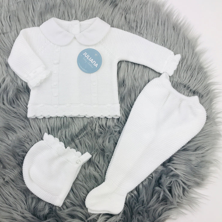 White Three Piece Knitted Set