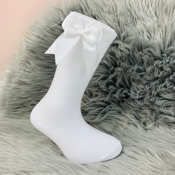 White Knee High Double Side Bow Spanish Socks