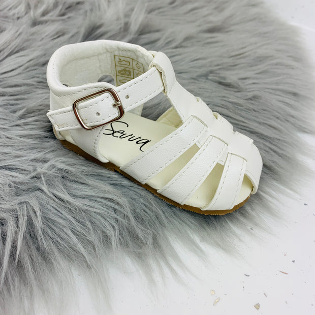 White Spanish 'Larry' Sandals Side