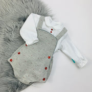 Grey & Red Spot Romper Shirt Set