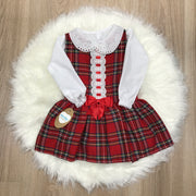 Red Tartan Drop Waist Dress with White Blouse & Red Bow