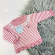 Dusky Pink & White Three Piece Knitted Set Top