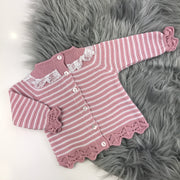Dusky Pink & White Three Piece Knitted Set Back