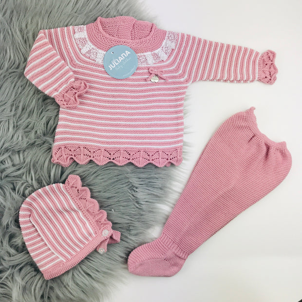 Dusky Pink & White Three Piece Knitted Set