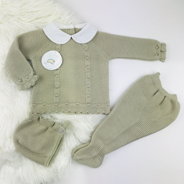 Beige Three Piece Knitted Set