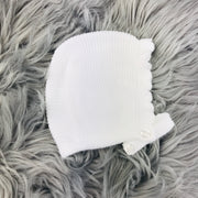 White Three Piece Knitted Spanish Set Bonnet