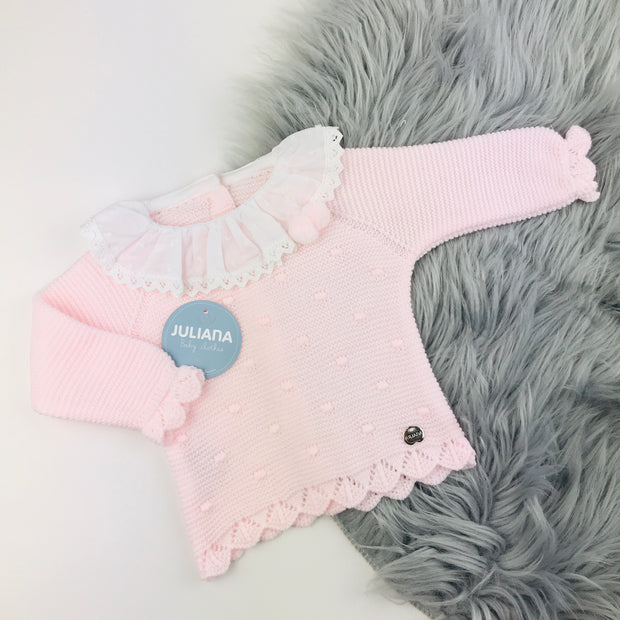 Pink & White Three Piece Knitted Set Top