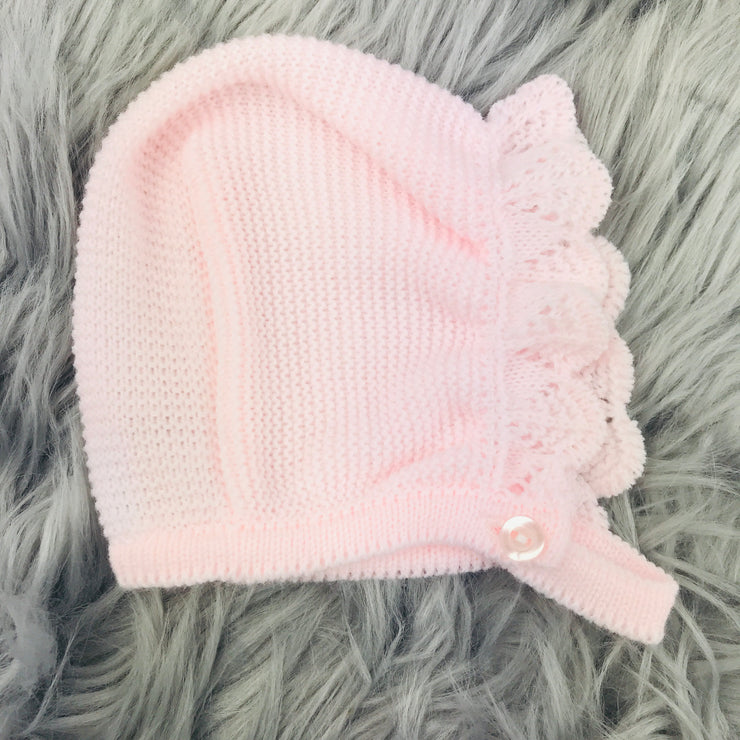 Pink & White Three Piece Knitted Set Bonnet