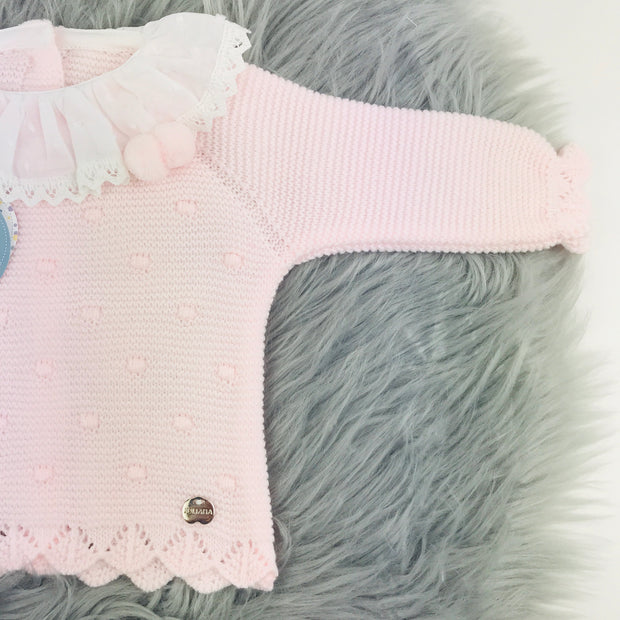 Pink & White Three Piece Knitted Set Close