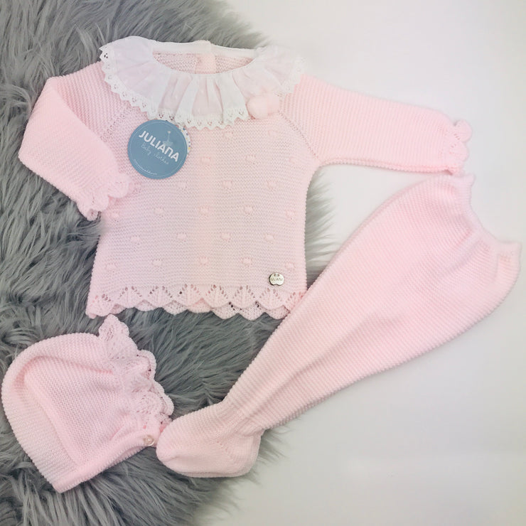 Pink & White Three Piece Knitted Set