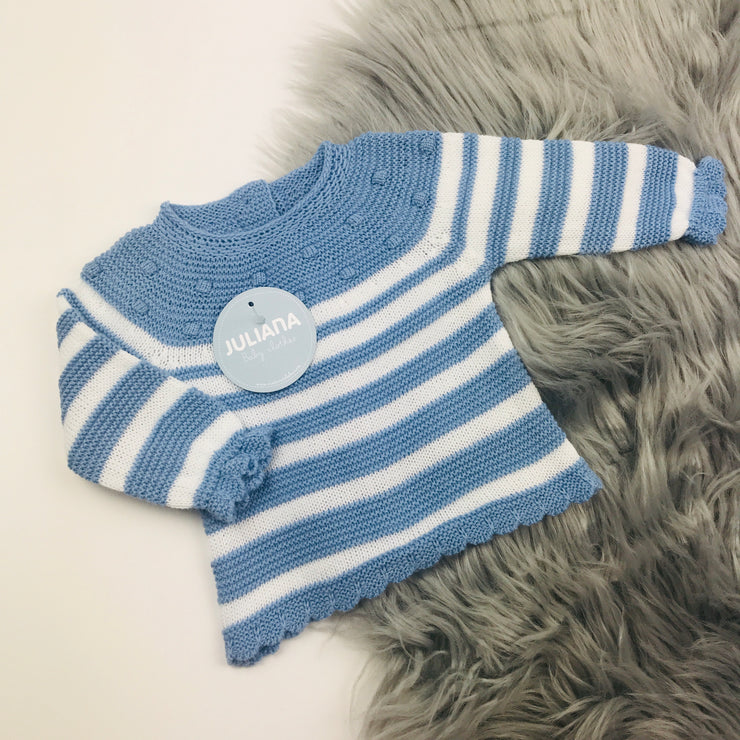Dusky Blue Three Piece Spanish Knitted Set