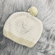 Beige Three Piece Knitted Set Hat