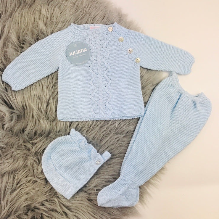 Blue Three Piece Spanish Knitted Set