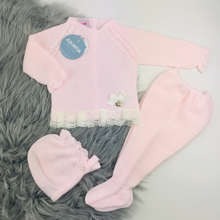 Pink Three Piece Knitted Spanish Set