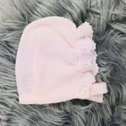 Pink Three Piece Knitted Spanish Set Bonnet