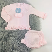 Baby Pink Knitted Jam Pant Set