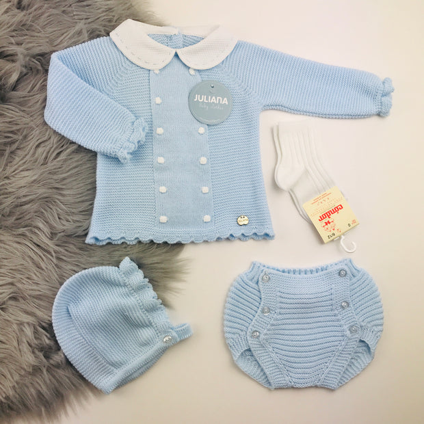 Blue and White Knitted Jam Pant Set