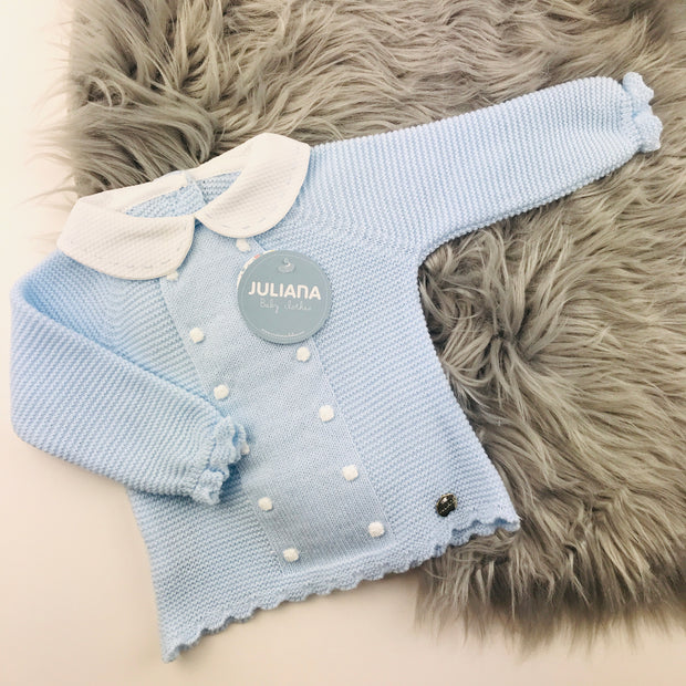Blue and White Knitted Jam Pant Set Top