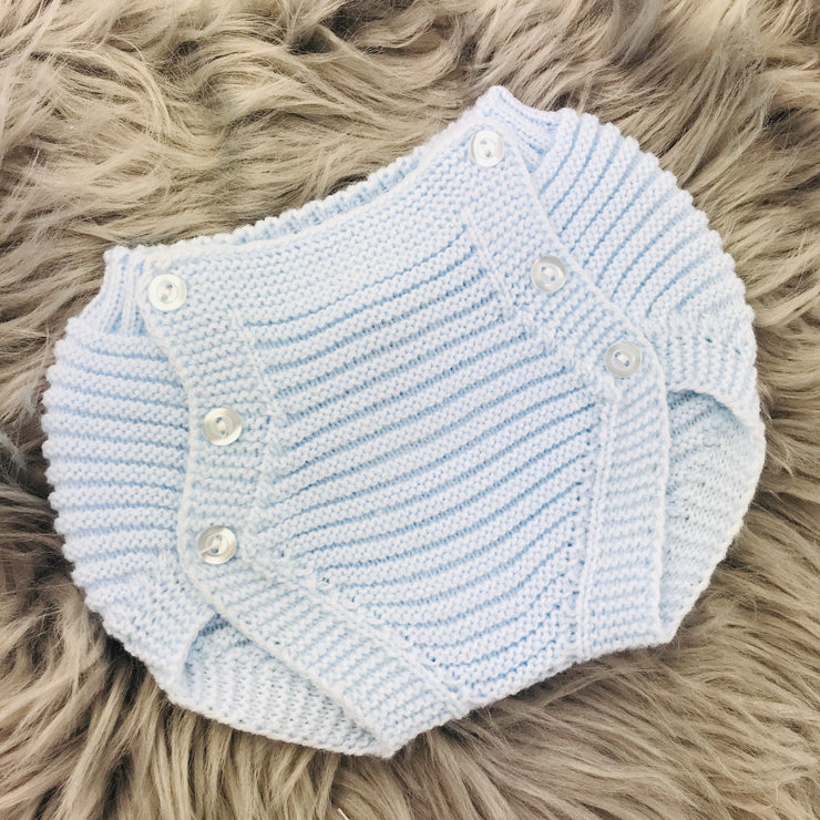 Blue and White Knitted Jam Pant Set Pants
