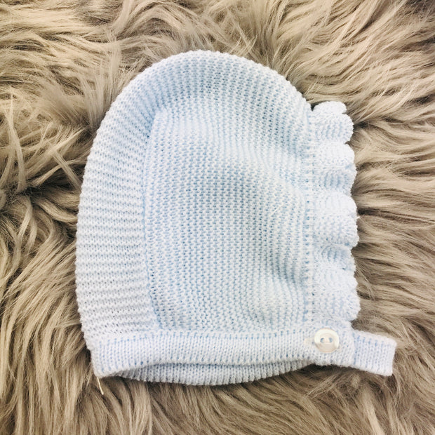 Blue and White Knitted Jam Pant Set Bonnet
