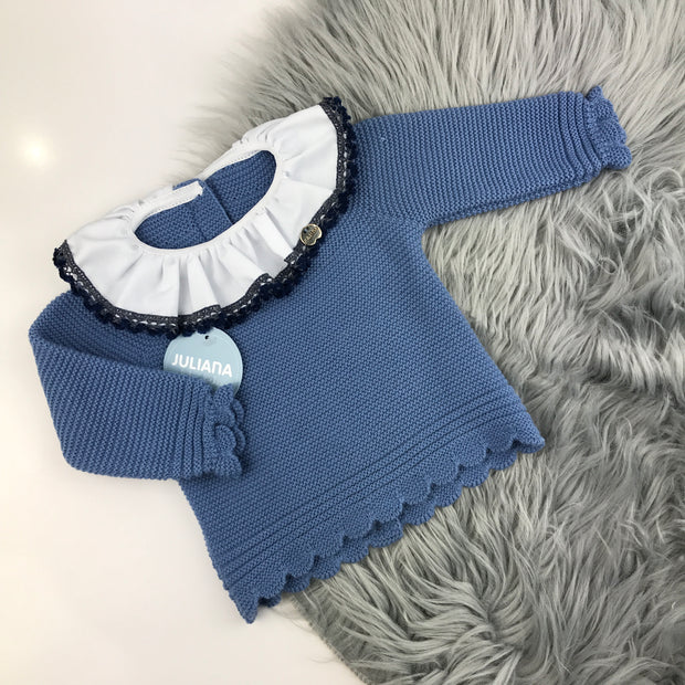 French Blue Knitted Jam Pant Set Top