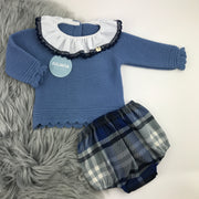 French Blue Knitted Jam Pant Set