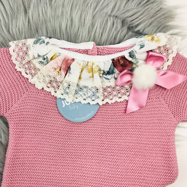 Dusky Pink Knitted top Collar