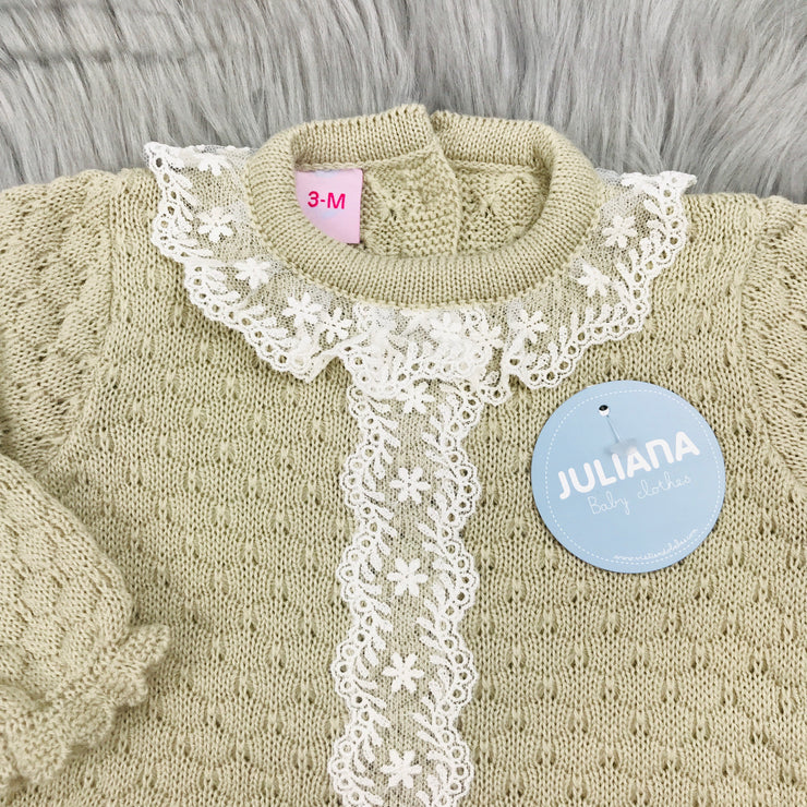 Beige Knitted Spanish Romper Close