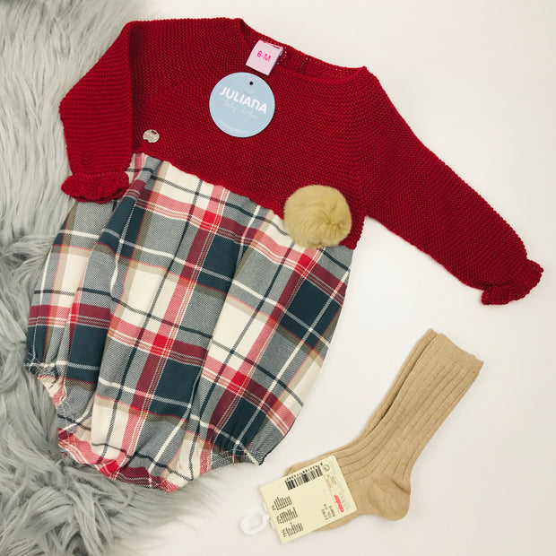 Deep Red Half Knitted Romper