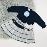 Juliana Navy Half Knitted Tartan Drop Waist Dress