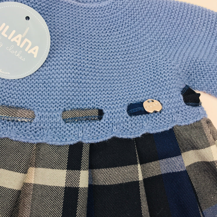 French Blue Half Knitted Tartan Dress Close