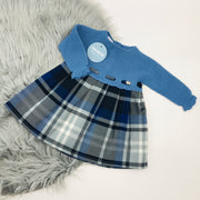 French Blue Half Knitted Tartan Dress